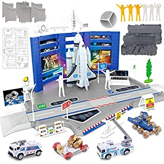 Liberty Imports Mega Space Station Kids Pretend Playset - Toy Space Shuttle, Rocket, Rovers, Astronaut Figures, Vehicles & Accessories (70 Pcs)