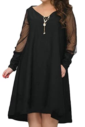 a7164858616 XTX Ladies Spliced Pleated Plus Size Long Sleeve Baggy Fit Mesh A-Line  Dresses Black