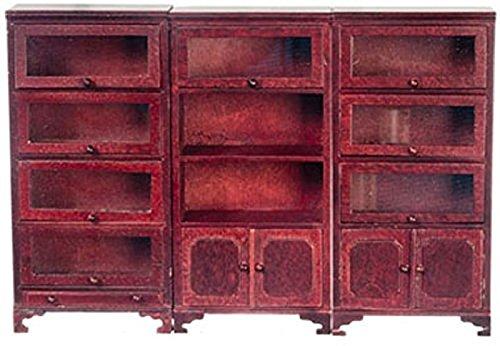 (Aztec Imports, Inc. Dollhouse Miniature Mahogany Set of 3 Lawyers Bookcases by Falcon Miniatures)