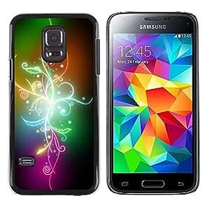 Smartphone Rígido Protección única Imagen Carcasa Funda Tapa Skin Case Para Samsung Galaxy S5 Mini, SM-G800, NOT S5 REGULAR! Abstract Color Flowers / STRONG