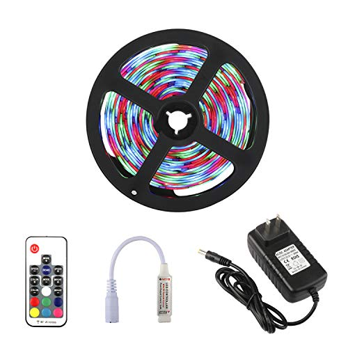 RC-LED-Strip-Lights-Waterproof-Flexible-2835SMD-RGB-Lights-Strip-Kit-with-17Key-RF-Wireless-Remote-and-12V-Power-Adapter