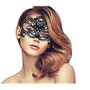 duoduodesign Exquisite Lace Masquerade Mask (Black and Dark Gold/L)