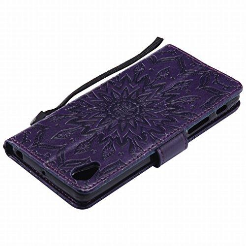 LEMORRY Sony Xperia X Performance Hülle Tasche Ledertasche Beutel Haut Schutz Magnetisch SchutzHülle Weich Silikon Cover Schale für Sony Xperia X Performance, Blühen Pink Lila