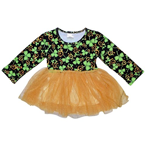 Unique Baby Girls St Patrick's Day Luck of the Irish Tutu Dress (3T/L, Green) (Leprechaun Outfits)