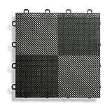 BlockTile B2US4230 Deck and Patio Flooring Interlocking Tiles Perforated Pack, Black, 30-Pack