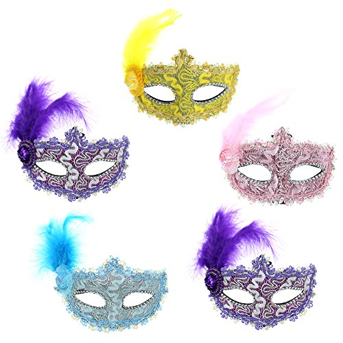 Owfeel 5Pcs Venetian Style Lace Prom Masquerade Mask for Any Party Costume (Falling Head Halloween Costume)
