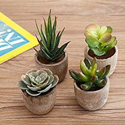MyGift Assorted Decorative Artificial Succulent Plants with Gray Pots, Set of 4