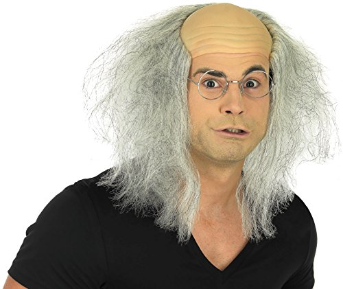 SUKRAGRAHA MADMAN BALD COSTUME WIG MAD SCIENTIST DR costume