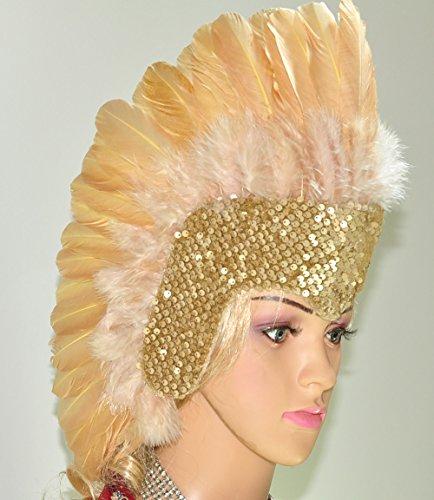 [Hot-fans Sequins Las Vegas Dancer Showgirl Headpiece, Wheat] (Las Vegas Showgirl Costume)