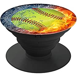 Artswow Expanding Stand Grip Pop Mount Holder Socket for iPhone, Multi-Function Mounts and Stands Phone Grip - Baseball on Fire Water (Included a Clip)