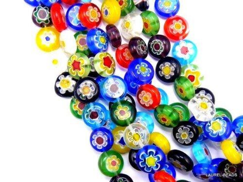 Beading Station 40-Piece Mix Millefiori Flower Glass Coin Beads, 10mm