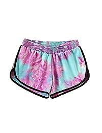 SweatyRocks - Pantalones Cortos de Yoga para Mujer con Estampado teñido, Púrpura, Azul, XL