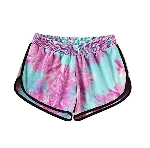 SweatyRocks Women's Summer Beach Shorts Yoga Workout Shorts Casual Lounge Shorts Blue Purple S