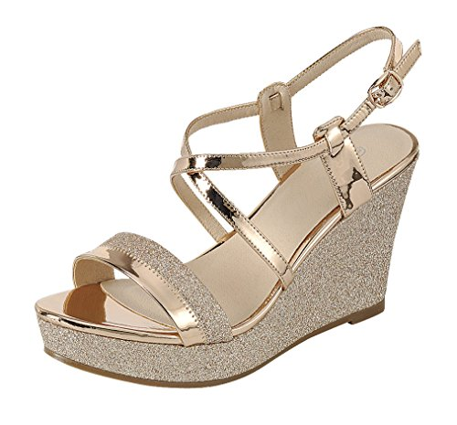 Platform Shoes Gold - Cambridge Select Women's Open Toe Crisscross Ankle Strappy Mixed Media Glitter Platform Wedge Sandal (8 B(M) US, Rose Gold)
