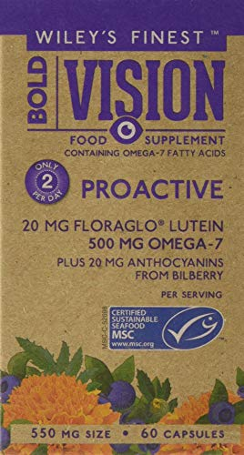 Wiley's Finest Bold Vision Eye Health and Vision Supplement with Lutein, Zeaxanthin, Bilberry, Omega-7, Astaxanthin plus…