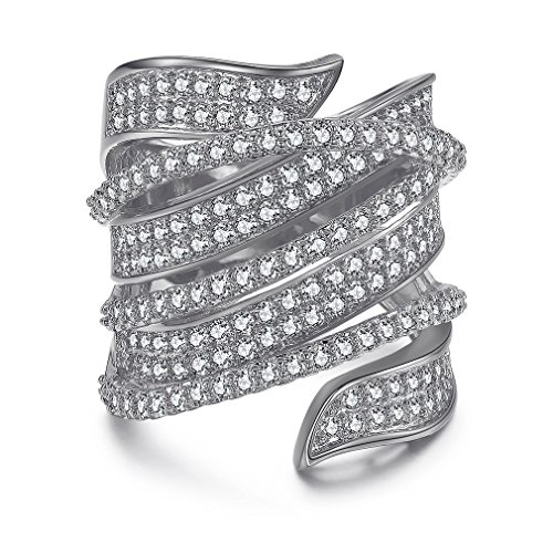 SHINCO Bella Lotus Twist Wide Band Heart and Arrows 18k White Gold Plated CZ Crystal Fashion Ring, Size 7