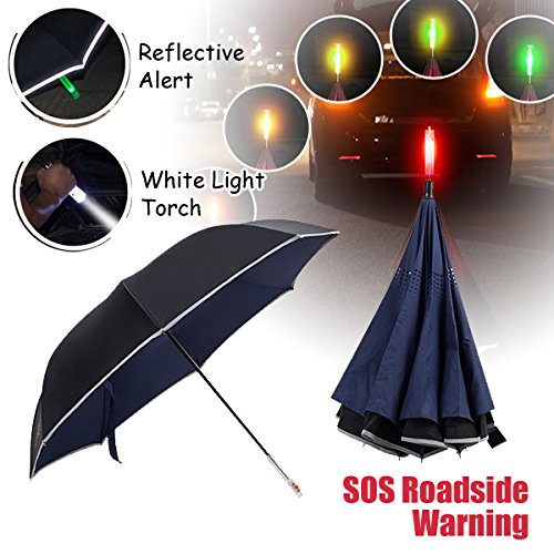 NEWBRELLAs Deluxe Reverse Umbrella Inverted with Roadside SOS Flashing Emergency Warning Light & LED Flashlight Handle - Vehicle Reflective Safety Car Golf Umbrellas (Blue)
