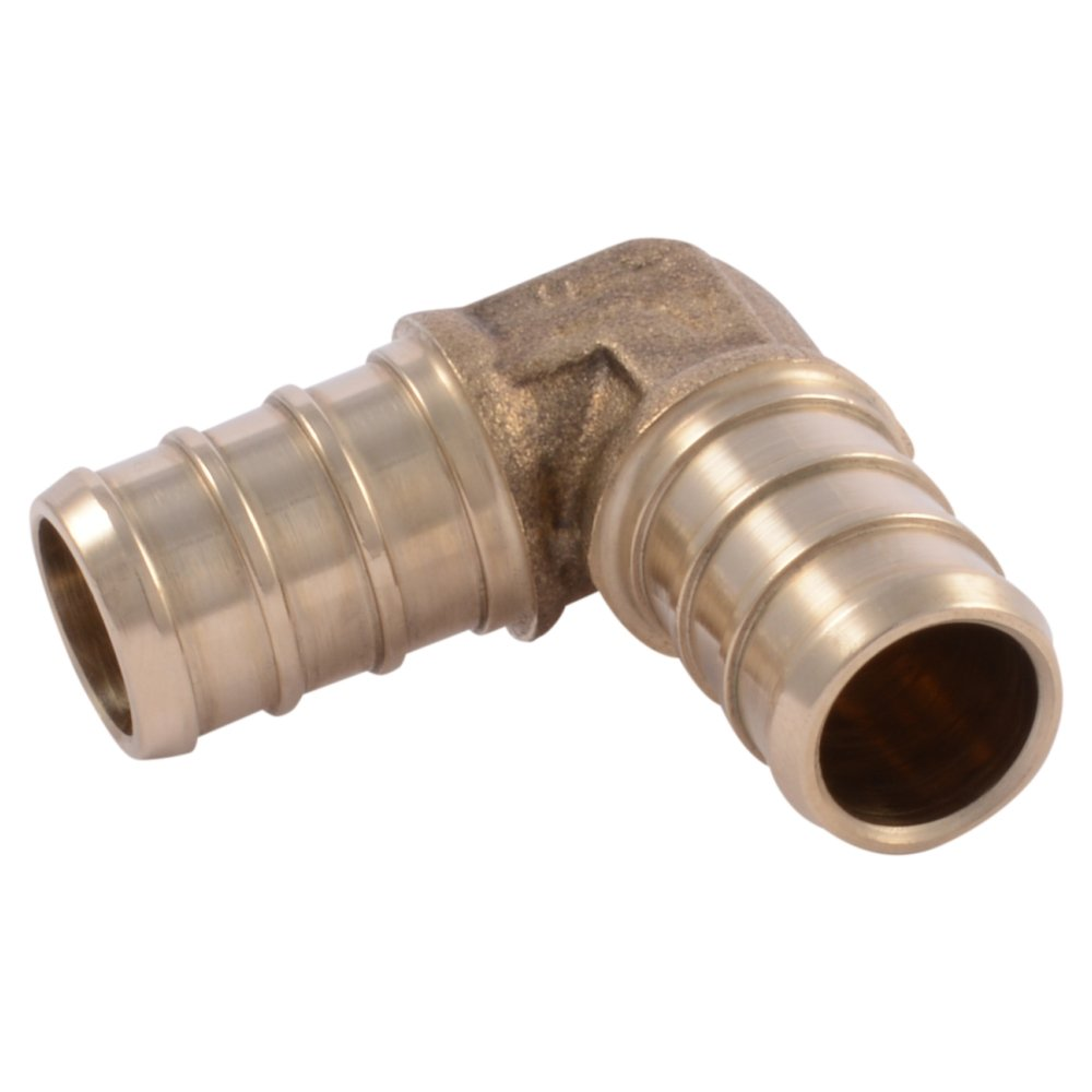 "SharkBite UC248LFA10 1/2"" 90 Degree Elbow PEX Barb Fitting (10-Pack), Brass"