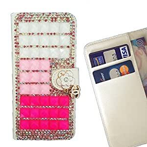 FOR Motorola Verizon DROID MAXX 2 / Moto X Play Clear Bow Bownot Hot Pink Gradient Bling Bling PU Leather Waller Holder Rhinestone - - OBBA