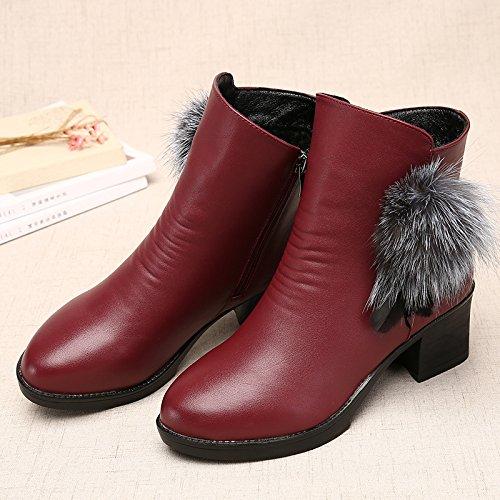 Shukun Stiefeletten Mother's Stiefelies Winter Damen Stiefel Stiefel Stiefel dick mit Martin Stiefel verdickt Damenschuhe Baumwolle Schuhe Schuhe mittleren Alters 64aace