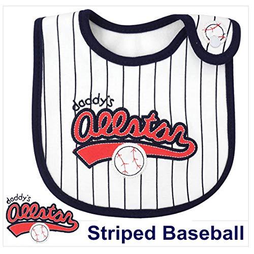 Striped Baseball Baby Bibs for Boys and Girls Waterproof Bibs Drooling and Teething Bibs pallems Drool Bibs Unisex(2 Pack) Blue Infant Baseball Bib
