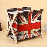 Foldable Storage Baskets - Waterproof Canvas & Pine Wood Storage Bins Square Storage Basket Wooden Shelves Storage for Toys, Desks, Makeup (British flag)