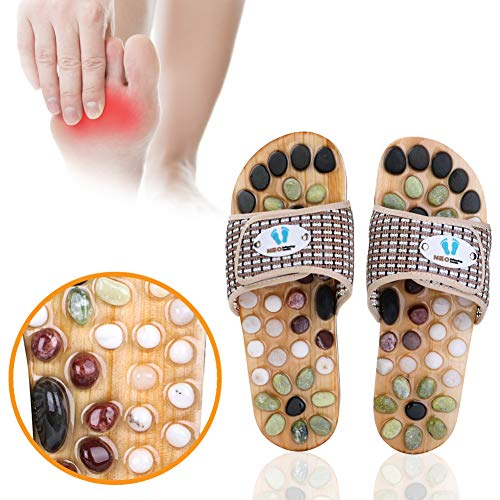 Acupressure Massage Slippers with Natural Stone, Therapeutic Reflexology Sandals for Foot Acupoint Massage Shiatsu Arch Pain Relief, Fit 9 Women / 7.5 Men Feet Size