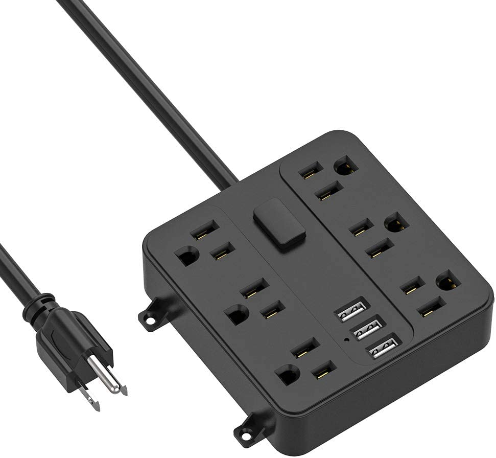 Power Strip with USB, ICEELEC 6 Outlets and 3 USB Ports 6 Feet Long Cord Heavy Duty Wall Moun Power Strip, Mountable Under The Desk Table, Workbench, Nightstand, Dresser, Home, Office, Hotel (Black)