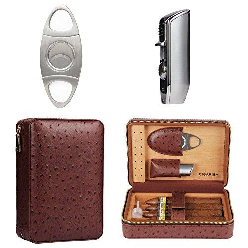 4 Count Ostrich Pattern Genuine Leather Cedar Cigar Travel Case Humidor Lighter Cutter - Humidor Set
