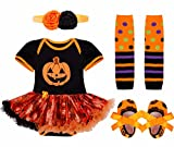 FEESHOW Baby Girl First Halloween Outfit Costume Tutu Romper Headband Leg Warmer Shoes Set