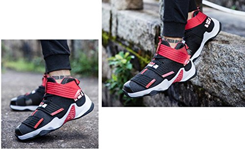JiYe Mens Basketball Shoes For Womens Performance Sports Velcro Sneakers by Black Red-1 eCkqx2E