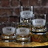 Groomsmen,Engraved Double Old Fashioned Glass, Whiskey, Scotch, Bourbon SET OF 6 (groomwsky6) For Sale