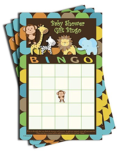 Gift Bingo - Baby Shower Game - Jungle Themed (50-sheets)