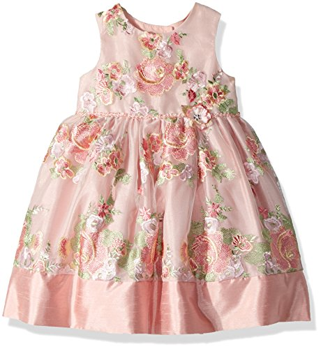 Laura Ashley London Little Girls' Sleeveless Fancy Embroidered Party Dress, Multi, 3T -