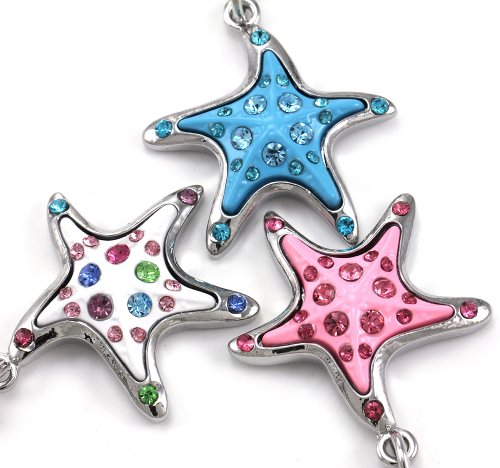 (White Pink Blue Starfish Keychain Dangle Key Ring Charm Enamel Multicolor Gift for Mom)