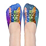 Rainbow Cat With Glasses Gay Pride Women's Thin Casual No Show Socks Non Slip Flat Boat Line