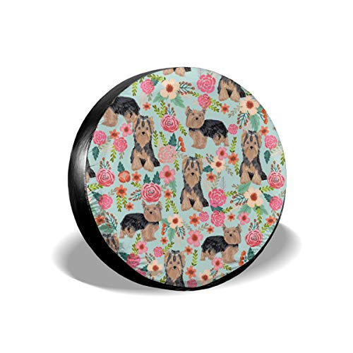 X-Large Florals Yorkshire Terrier Floral Cute Dogs Polyester Universal Spare Wheel Tire Cover Wheel Covers Jeep Trailer RV SUV Truck Camper Travel Trailer Accessories 15 inch