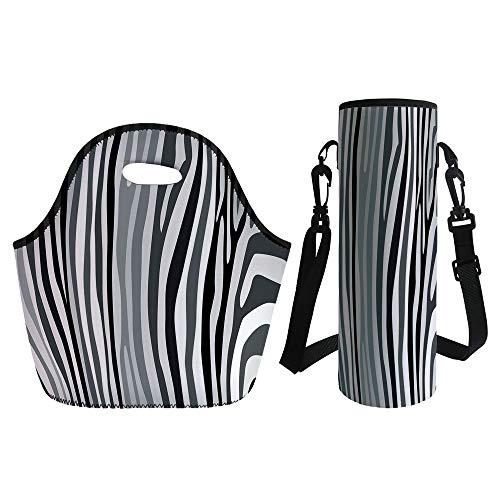 (3D Print Neoprene lunch Bag with Kit Neoprene Bottle Cover,Zebra Print,Zebra Pattern Vertical Striped Nature Wildlife Inspired Fashion Illustration,Black White,for Adults Kids)