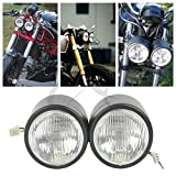 TCMT Matte Black Dual Front Headlight For Streetfighter Cafe Racer Naked Motorcycle