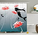 Ambesonne Mermaid Decor Collection, Mermaid Swimming Silhouette Underwater Flowers Blossoms Freedom Fantasies Image Print, Polyester Fabric Bathroom Shower Curtain, 75 Inches Long, Black Salmon