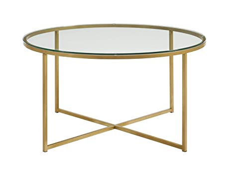 Amazon Com We Furniture 36 Coffee Table With X Base Glass Gold