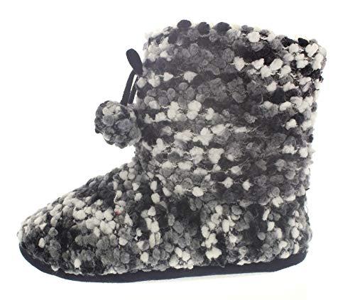Boot Fuzzy Womens Memory Pom Mercury Slippers House Sweater Foam Bootie Black Indoor Booties Pom Boots Slipper qROgR7T8Wc
