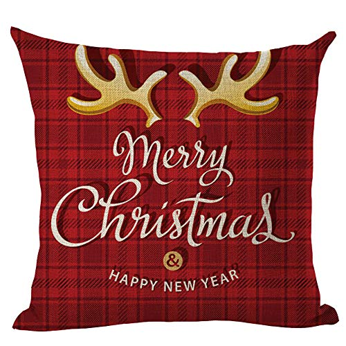 huoaoqiyegu Merry Christmas Decorations Pillow Cases Linen Sofa Cushion Cover Home -