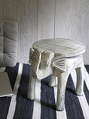 Wooden Side Table End Table Round Bedside Sofa Stool White Distressed Finish Elephant Head Design Home Kids Room Furniture Shabby Chic Decor - 18 x 13 x 14 inches by Store Indya (Image #2)