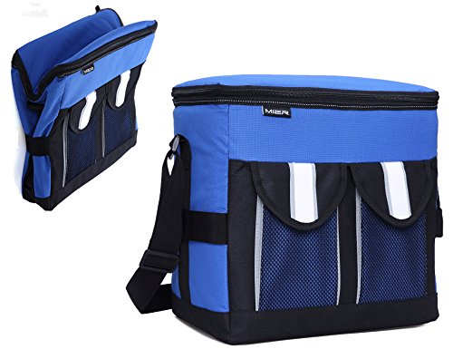 MIER 30Cans Collapsible Soft Cooler Bag Insulated Picnic Lunch Bag for Adult, Men, Women, Leakproof Liner, Blue, (Leak Proof Peva Lining)