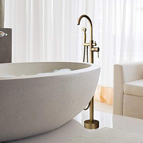 Hongala Modern Floor Mounted Bathtub Faucet Clawfoot Tub Filler Antique Brass