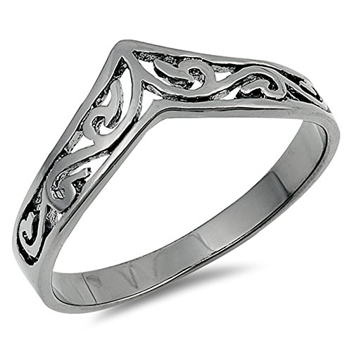 Filigree Celtic Black-Tone Thumb Ring New .925 Sterling Silver Band Size 10