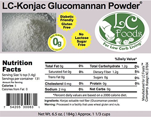 Konjac Glucomannan Powder - LC Foods - All Natural - 6.5 oz