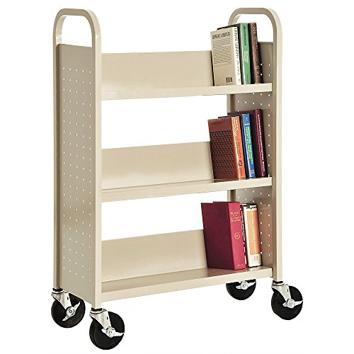 Sandusky Lee Welded Book Truck - 31X13x48'' - 3 Single-Sided Sloping Shelves - Putty - Putty by Sandusky Lee