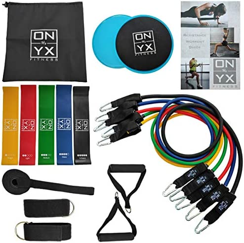18pcs Resistance & Workout Set Includes: 5 Tube Fitness Exercise Bands | 5 Stretch Loop Bands | 2 Gliding discs | 2 Ankle Straps | 2 Foam Handles |Door Anchor & Workout Guide for Home Training Gym 1